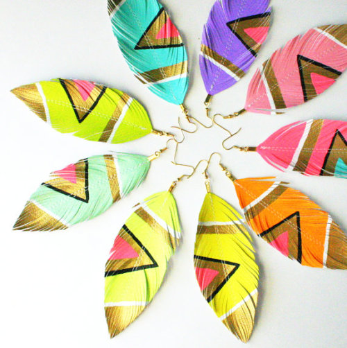 printsnpatterns:  Etsy  Neon Aztec - Assorted Pastel Candy Colors - YOU Pick Color- Handpainted Faux Leather Feather Earrings