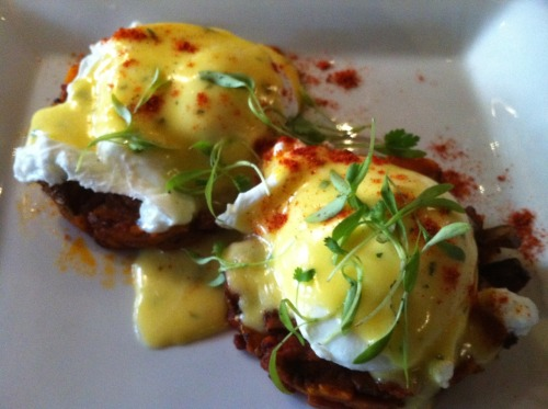 Sweet Potato Hash & Poached Eggs with Hollandaise Sauce To serve two, this is all you need: • 2-3 Tbsp olive oil • 1 medium sweet potato • 1 medium onion • 2 cloves of garlic • 1/2 tsp smoked paprika (chile powder also works) • 3 Tbsp chopped, toasted pecans (optional, but awesome) • 4 eggs • Salt, Pepper to taste For the (quick) Hollandaise Sauce: • 1 egg yolk • Splash of lemon juice • Pinch of salt • Pinch of smoked paprika • 1/3 cup butter Instructions:Heat oil over medium heat in a large frying pan.Grate sweet potato. Roughly chop onion. Mince garlic.Give garlic and onion a head start in the pan, cooking them until golden before adding the sweet potato.Cook until browned. Don't stir too much or it won't get crispy. About 20 minutes. When sweet potato mix is almost done: Poach eggs* Add toasted pecans to the sweet potato hash. While eggs are cooking:Melt butter in small frying pan.Whisk egg yolk, salt, smoked paprika and lemon juice together until creamy.While whisking, slowly pour the melted butter into the mixture. It will thicken into a rich sauce. Serve poached eggs on a bed of sweet potato hash. Generously (more than pictured above) drench plate in Hollandaise sauce. Eat. *The easiest way to perfectly poach an egg: buy foldover sandwich bags (not the ones that ziploc shut) spray the inside of the bag with cooking spray then crack an egg into the individual bag and tie off with a twist tie. Repeat this step for how many eggs you'd like to make. Then boil a pot of water, before placing the eggs in, turn it down to a simmer and place the eggs in for 3 minutes. thanks to my cousin, Caroline, for introducing me to this recipe!