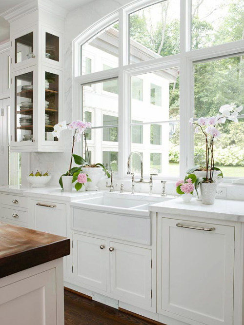 holy goodness almighty. farm sink. windows. white. beautiful. orchids. i die.