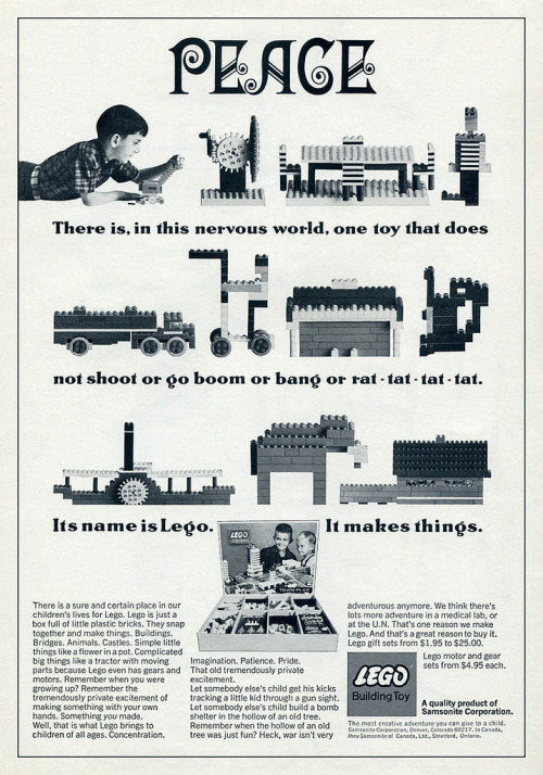 Nice anti-war Lego ad from the '60s