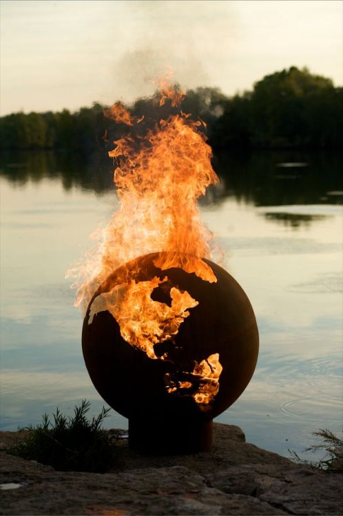 "laughingsquid:  Planet Earth Sculptural Fire Pit  ""I dont want to set thee woorrld ooon fiiireee"""