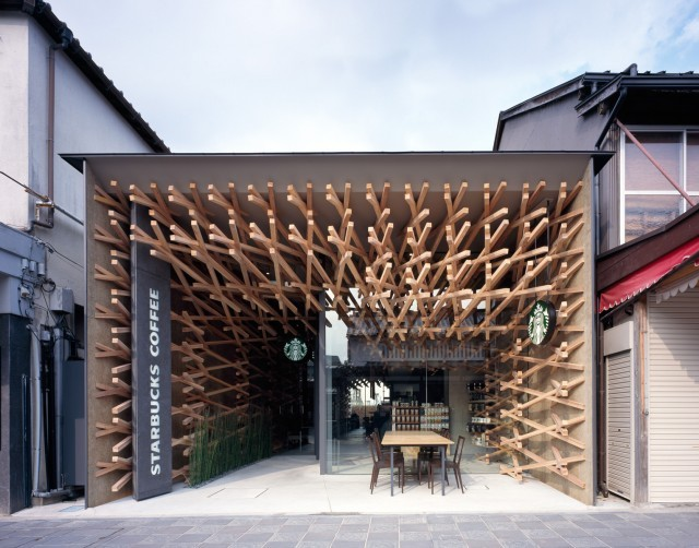 laughingsquid:  Beautiful Weaved Wood Starbucks Café in Japan