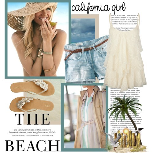 California Girl at the Beach by queenrachietemplateaddict featuring v neck shirts
