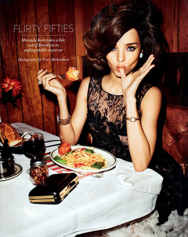 Oscar de la Renta + spaghetti & meatballs. from Harper's Bazaar, April.