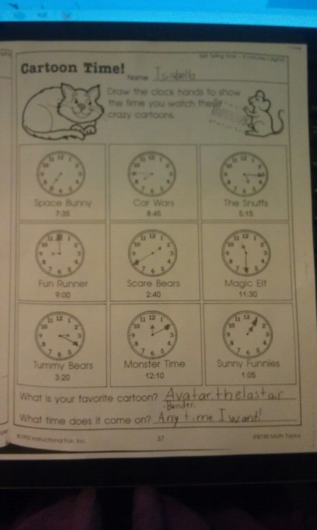 My daughter is ridiculous. I don't think she understood the homework 100%.