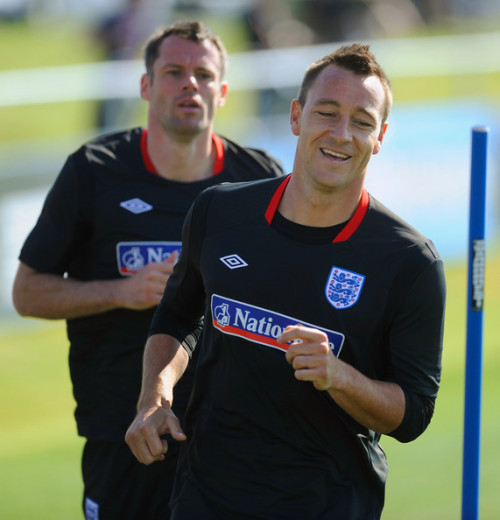 John Terry and Jamie Carragher Train with the England Squad.