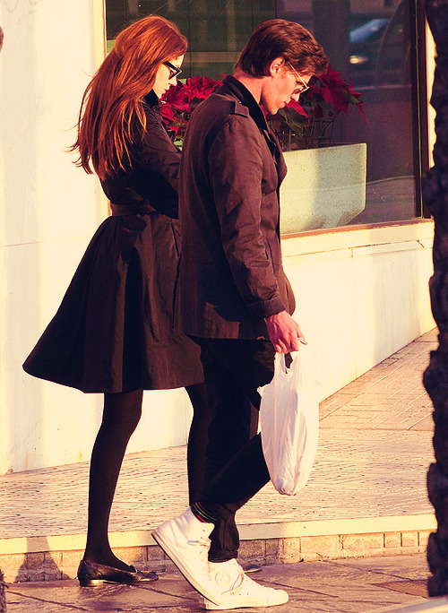 Matt and Karen take a break from filming Doctor Who Series 7 in Spain.
