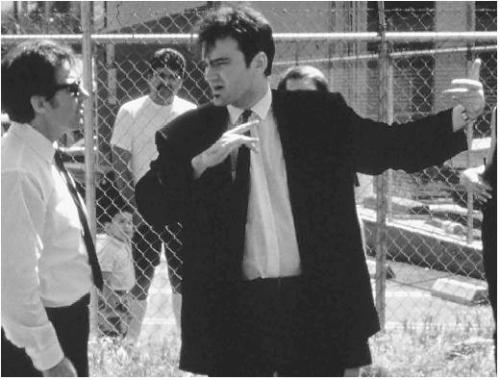 "iloveretro:  Quentin Tarantino with Harvey Keitel on the set of ""Reservoir Dogs"" (1992)"