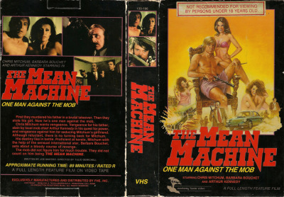 "The Mean Machine AKA Ricco: The Mean Machine (1973) - Monterey Home Video [Big Box] ""The second son of legendary Hollywood tough guy Robert Mitchum, Christopher Mitchum launched his acting career in the 1960s, appearing in several John Wayne westerns and no-budget efforts like BIGFOOT (1970). Traveling to Europe to star in THE SUMMERTIME KILLER, a violent revenge flick, proved to be a great career move, and Mitchum landed consistent work in largely Spanish-produced exploitation programmers. His 1973 vehicle, RICCO (aka MEAN MACHINE) is actually a Spanish/Italian co-production mimicking the formula of recent U.S. action/crime flicks, namely DIRTY HARRY and THE GODFATHER. Tall, blonde and youthful Ricco (Chris Mitchum) is released from prison after two years, only to learn that his father has been murdered by mob boss Don Vito (Arthur Kennedy). If that wasn't bad enough, the Don has also coveted Ricco's beautiful girlfriend Rosa (Malisa Longo), so naturally, he goes on a quest to find her whereabouts, punching out and karate chopping a number of thugs in the process. Ricco also befriends the red-haired lovely, Scilla (Barbara Bouchet), the niece of a counterfeiter. When Ricco and Scilla heist a bag of money belonging to the Don, it's all-out revenge time by the head of the mafia and Ricco lashes back as a one-man mean machine."" - www.dvddrive-in.com Check out the trailer here: http://www.youtube.com/watch?v=qBGc8gXJn8A"
