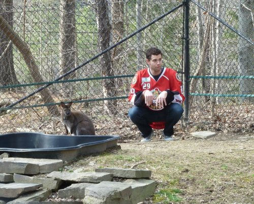 Mike McKenna and a wallaby