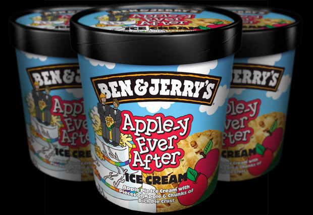 Ben & Jerry's announced Tuesday that it is renaming one of its flavors to support the proposal to legalize same-sex marriage in the UK. By changing the name of its Oh! My! Apple Pie! ice cream to Apple-y Ever After, the company is hoping to raise awareness of the importance of the issue. In 2009, Ben & Jerry's renamed their famous Chubby Hubby to Hubby Hubby to celebrate same-sex marriage being legalized in their home state of Vermont.