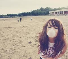 on the beach with chewing gum.