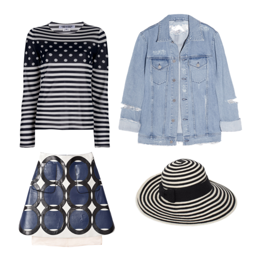 Acne denim jacket  + Comme Des Garçons striped top + Marni leather skirt + Kate Spade floppy hat