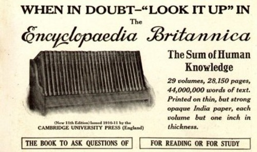 "Encyclopaedia Britannica, the mother of all alphabetized knowledge, will be putting its 244-year-old print business out to pasture effective immediately. This makes the august encyclopedia publisher's 32-volume 2010 edition the last of its kind. ""Some people will feel sad about it and nostalgic about it. But we have a better tool now,"" said Encyclopaedia Britannica Inc. president Jorge Cauz. ""The Web site is continuously updated, it's much more expansive and it has multimedia."" Indeed, over the last decade, Encyclopaedia Britannica has seen online rival Wikipedia slowly eat away at its market share, with its high-minded notions of free information for all by all. By comparison, a complete set of Encyclopaedia Britannica books will set you back a cool $1,395. Additionally, dead-tree tomes lack the self-correction and expansion features that come standard with Wikipedia, and are increasingly necessary in today's fast-paced world of the 24-hour news cycle. Curriculum products for schools have been Encyclopaedia Britannica primary source of revenue since encyclopedia sales peaked at 120,000 in 1990. According to the company, nearly all the other money it makes comes from subscriptions to its website. Print encyclopedias make up less than 1 percent its profits. [mediadecoder.]"