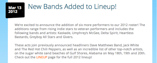 Hangout Fest artist additions.