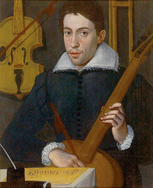 Claudio Monteverdi, circa 1597, by an anonymous artist, (Ashmolean Museum, Oxford). Thought to be the earliest known image of Monteverdi, at about age 30, painted when he was still at the Gonzaga Court in Mantua.