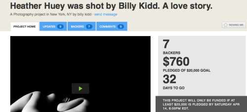 Let's support artists! We love Billy Kidd and his photography and this couldn't be a more personal or poignant show. Together we can make this show a reality.