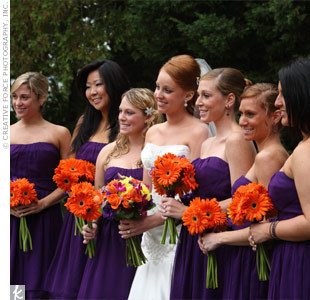 Purple & Orange Bridesmaids