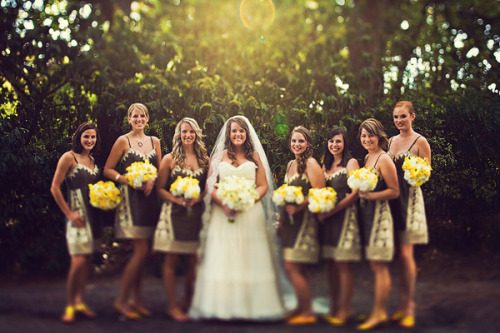 Yellow & Gray Bridesmaids