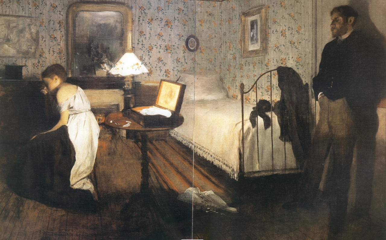 Edgar Degas - Interior (The Rape), 1868-69. Oil on canvas