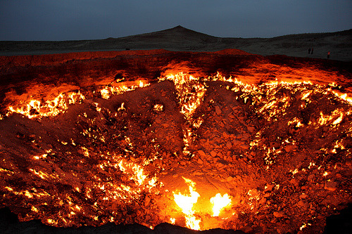 "The Door To Hell  The Derweze area is rich in natural gas. While drilling in 1971, Soviet geologists tapped into a cavern filled with natural gas. The ground beneath the drilling rig collapsed, leaving a large hole with a diameter of 70 metres (230 ft). To avoid poisonous gas discharge, it was decided to burn it off. Geologists had hoped the fire would use all the fuel in a matter of days, but the gas is still burning today. Locals have dubbed the cavern ""The Door to Hell""."