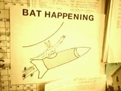 krecs:  'Bat Happening' by Benjamin Parrish.  A favorite sight on my office wall. And oh yes, he's made shirts! http://shop.krecs.com/collections/all/products/benny-ps-bat-happening-t-shirt