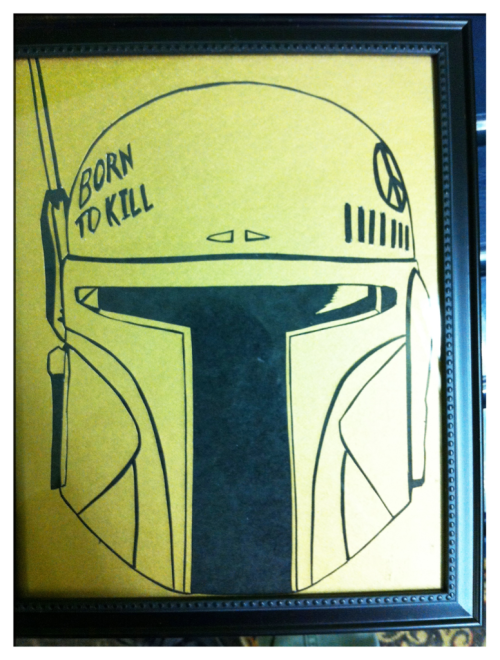 Mandalorian Major Malfunction. Latest addition to the Cave's art collection, courtesy of Casey Ruic.