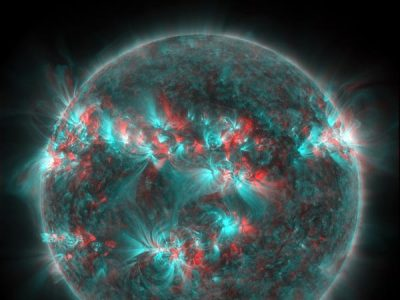 "thenewenlightenmentage:  Space Pictures This Week: 3-D Sun Storm, Mars Devil Solar Flare in 3-D Image courtesy SDO/NASA A 3-D image of an active sun shows sunspots and ""wonderful active regions in exquisite detail,"" according to NASA's Solar Dynamics Observatory. (See where you can get 3-D glasses to better appreciate this image.) A powerful sun storm—associated with the second biggest solar flare of the current 11-year sun cycle—hit Earth last week. Despite warnings of possible GPS, communications, and power failures, Thursday's sun storm was a softy, scientists say. (Also see ""Solar Flare: What If Biggest Known Sun Storm Hit Today?"") Next »"