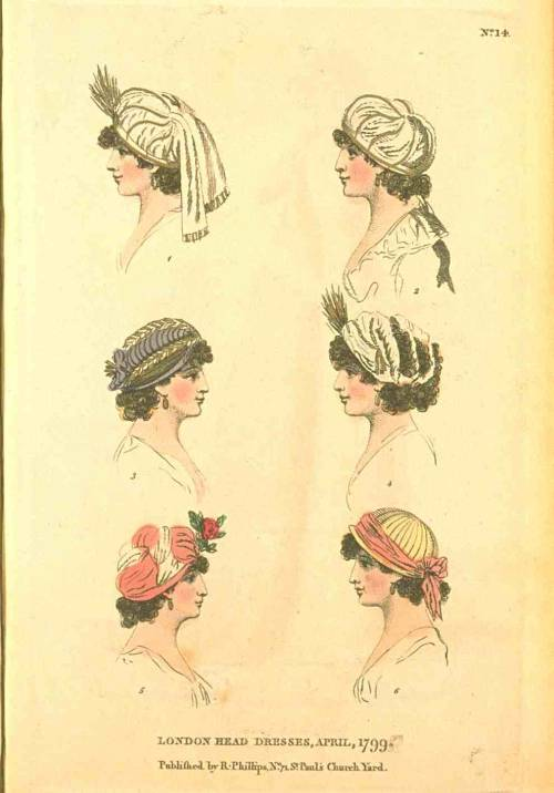 Fashions of London and Paris, London Head Dresses, April 1799.  These are adorable little things!