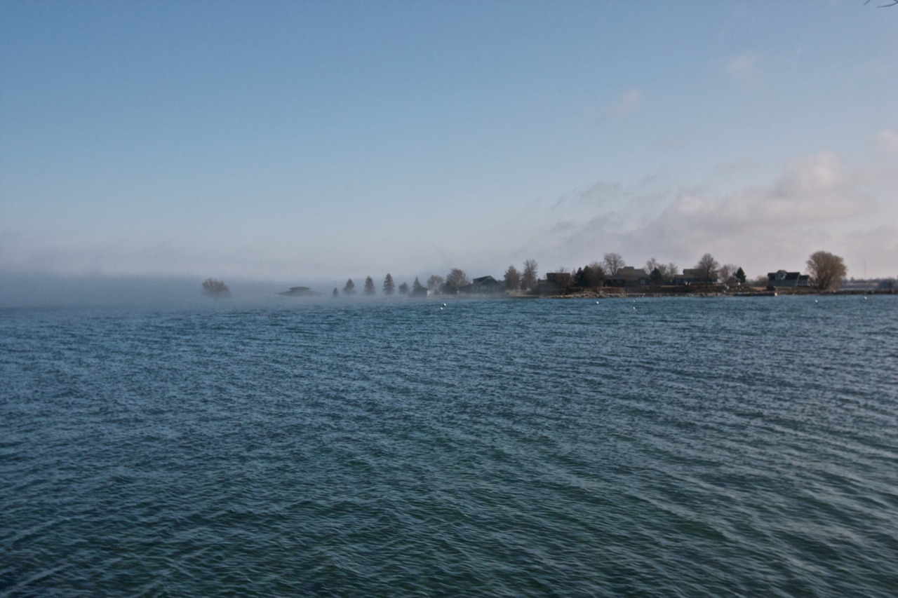Fog leaving Washington Island, Clayton. Taken from Frink Park. Clayton, New York, United States