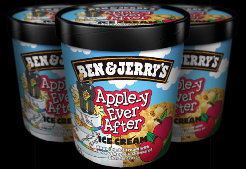 To support the movement for marriage equality in the U.K., Ben & Jerry's is changing the name of its apple pie ice cream to Apple-y Ever After, with a design featuring a wedding cake topped with two grooms. More.