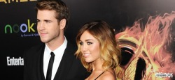 Miley and Liam at the premiere of Hunger Games!