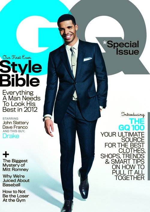 Drake Covers April 2012 GQ…  In a 3-cover issue, Young Money rapper Drake is gracing the front of GQ's April 2012 STYLE BIBLE issue.  The other two covers belong to actors Dave Franco (James Franco's little brother) and John Slattery (who is starring in the brand new independent film In Our Nature opposite Gabby Union).  Drizzy is keeping it sleek and sophisticated modeling suits for the issue.  The full story will be out on GQ.com tomorrow. (Read More HERE…)