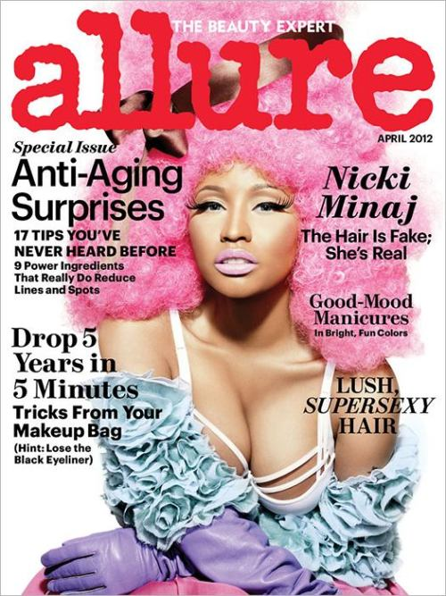 "Nicki Minaj Gets Cotton Candy Pink For April 2012 ALLURE Cover, Talks Dethroning Jay-Z & Working On Her Fitness…  ""Superbass"" rapper Nicki Minaj is decked out in her frills, ruffles and tulle for the new ALLURE issue.  The cover has been floating arond for weeks in a blurry low-res format, but now the higher quality pic has been released.  The MAC Viva Glam rep revealed her usual amount of boobage and her fave pink lipstick while yacking it up about keeping off the pounds and going for Jay-Z's spot:  On dethroning Jay-Z: ""I never thought about music as just being the end-all, be-all. I always looked at it like a business, something that I could create an empire out of…. I had a little conversation with Jay-Z at the Victoria's Secret fashion show. He said, 'Congratulations on all your success.' And I was like, 'Yeah, I'm coming for you. I'm coming for your spot, Mr. Mogul.'""(Read More HERE…)"