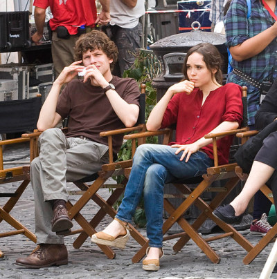 Oh look, Ellen Page and Jesse Eisenberg, just chilling on the set of Nero Fiddled. My excitement for this new Woody Allen film is immense. It also stars Alec Baldwin and Wooy Allen himself. Wow.