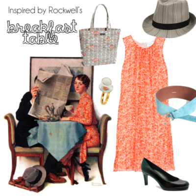 Dress- The Outnet Hat- Buckle Shoes- Shirise Belt- anedoti.com Purse- Kate Spade Ring- mysugarland.co.uk This is currently my favorite outfit I've created. I can't believe I could find all of these things that fit with the art so well. The tea cup ring, the newspaper purse & the belt that matches the tablecloth are wonderful little details in both the outfit & the art. I can't even believe that I could find a dress or shoes that matched the ones she's wearing. I squealed when I first saw that dress because it's perfect! Originally Posted March 2011