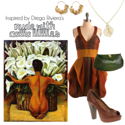 Dress- Mod Cloth Earrings- Alex Monroe Necklace- Annette Ferdinandsen Purse- Jalda (Endless.com) Shoes- Bertie Grampian When I found this dress I was so happy. It goes with all of the colors in the nude so well, besides being a beautiful dress, in general. The calla lilly necklace & leave earrings go really well with this painting, for obvious reasons. I think my favorite part may be the shoes though because their resemblance to the basket is more subtle. Originally Posted March 2011