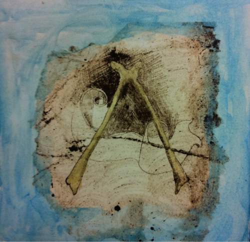 """share the wish"" size: 8x8 inches, media is hand printed. 1/30 monotype prints. Copyright Meaghan Busch 2012"