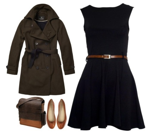 "lylaandblu:  ""The Lunch Date,"" by Lyla & Blu Dress- DesireClothing Trench Coat- Scotch Soda Shoes- Anniel Classic Ballerina from Steven Alan Satchel- 'Rubicon' Rucksack"