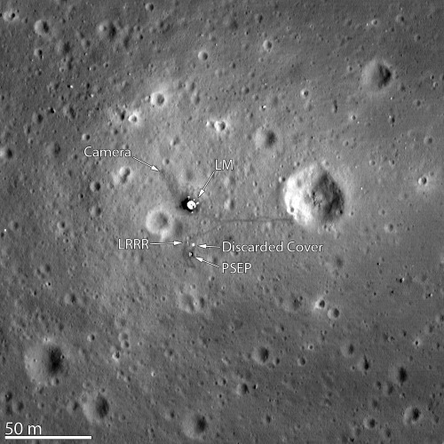 The clearest view yet of the famous Apollo 11 landing site on the moon was captured by a NASA spacecraft in orbit around our planet's natural satellite. The agency's Lunar Reconnaissance Orbiter (LRO) zeroed in on Mare Tranquillitatis, or the Sea of Tranquility — the place where humans first touched down on the lunar surface on July 20, 1969. The new image from LRO captures amazing details of the historic site, even revealing the remnants of Neil Armstrong and Buzz Aldrin's first steps on the moon. In the image, the astronauts' tracks are the dark regions around the Lunar Module that lead to and from various scientific experiments that were set up on the surface of the moon. LRO's camera snapped the picture as the probe flew only 15 miles (24 kilometers) above the moon's surface. The image, which was released on March 7, provides the best look yet at humanity's first venture to another world, NASA officials said in a statement. One of the experiments that can also be made out in the image is the Passive Seismic Experiment Package, which provided the first lunar seismic measurements and continued to return data for three weeks after the Apollo 11 astronauts departed from the moon. The discarded cover of the Laser Ranging RetroReflector is also highlighted in the image. This experiment allows precise measurements to be collected from the moon to this day, NASA officials said. [45 Apollo Moon Mission Photos] The astronauts' tracks also lead toward Little West crater, which is located about 164 feet (50 meters) east of the Lunar Module. This was part of an unplanned excursion, when Armstrong bounced over to get a look inside the crater, near the end of the 2.5 hours that the duo spent on the surface of the moon. The new image also clearly shows how restricted Armstrong and Aldrin were in their exploration of the area. Interestingly enough, their tracks cover less area than a typical city block, according to NASA officials. Later, during Apollo 12 and 14, the astronauts were given more time to spend on the surface, and on the Apollo 15, 16 and 17 missions, the crews were equipped with a Lunar Roving Vehicle that enabled them to explore beyond the landing site. The Apollo 11 astronauts returned valuable rock samples from the Sea of Tranquility landing site that revealed the moon's fiery past for the first time. The samples showed that this region of the moon was once the site of volcanic activity, and that thin flows of lava had once flowed where Armstrong and Aldrin had roamed. LRO has captured images of other Apollo landing sites before, including fascinating pictures that show tracks left by the Apollo 17 astronauts and their lunar rover. The Lunar Reconnaissance Orbiter has been in orbit around the moon since June 2009. The $504 million car-sized spacecraft first captured close-up images of the Apollo landing sites in July 2009, which revealed new details about the sites and even spotted hardware that was left behind on the lunar surface. The workhorse probe is currently on an extended mission through at least September 2012.