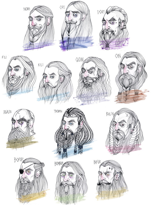 Thorin's Company. Everyone else can be an elf, I will die a dwarf. I am completely enamored with Tolkien's Dwarves, or any dwarf really… Hands down my favorite subject to draw.  I was doing this project right as Peter Jackson was releasing the photos of the dwarves, I managed to avoid seeing any since I didn't want the influence…Until I saw Dwalin (my favorite of the company) and I had to give him similar tattoos. I loved his character design. Anyway, I tried to maintain some similarity in appearance to the Dwarves that are closely related. Those swatches of color represent the color of their cloaks.