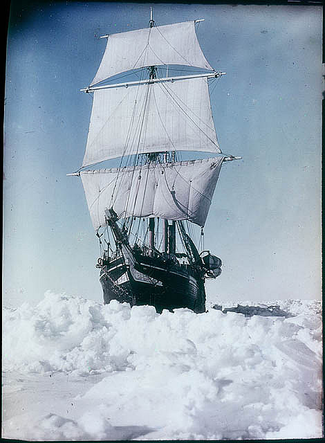 The 'Endurance' under full sail, held up in the Weddell Sea, 1915 / by Frank Hurley  1915…IN COLOR!?