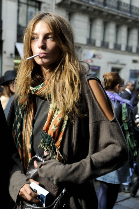 Daria Werbowy after a Balmain show