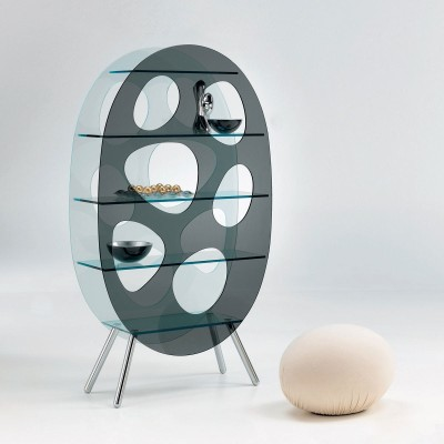 We LOVE the Lotus shelf designed by Karim Rashid for Tonelli. Made of acid, smoked and tempered glass with polished aluminium legs.