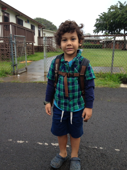 "Your first day of preschool! I cried. I asked to take your picture you said ""you can take it right here. I don't want anyone to see you!"" No lie, you are getting way to big!   Cheers to you starting your education."