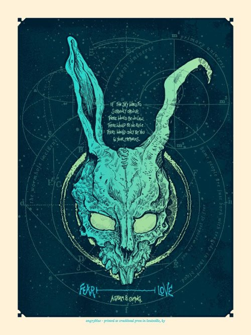 Donnie Darko Movie Poster - by Angryblue Baxter Ave Theatres in Louisville Kentucky is doing a special midnight showing this Saturday (3/17) of the Raegan-era, over-medicated classic and the first 25 people through the door will win themselves this glow-in-the-dark print of Frank the imaginary man bunny. If you win one, take my advice and dont listen to his suggestions to burn everything down. And definitely dont go through any time portals. (via: insidetherockposterframe | ianbrooks)