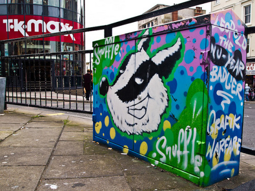 Snuffle! on Flickr.Brighton street art - Leopold the nu-year badger - Grafik Warfare