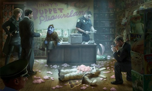 First look at Brian Henson's puppet noir film 'The Happytime Murders' This piece of concept art is the first look at 'The Happytime Murders', a dark film noir murder mystery with puppets, directed and conceived by Brian Henson, son of Jim Henson.  According to the official synopsis, the film is set in a world where puppets are second class citizens, and it's up to puppet private eye Phil Phillips to figure out who's ripping the stuffing out of the cast members of an '80s puppet TV show called The Happytime Gang. The movie has a script, but no release date has been set. Via