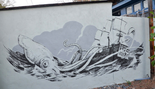 squidlinks:  Giant Squid vs Pirates Mural by Adam Rex