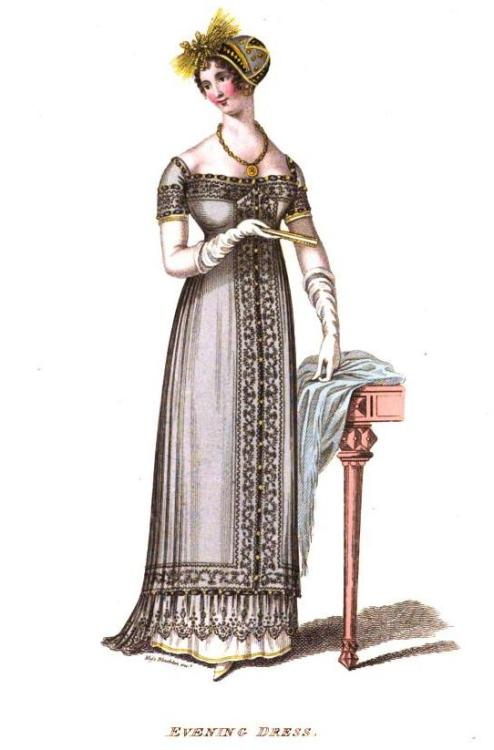 La Belle Assemblee, Evening Dress, December 1810.  This is definitely before La Belle found their footing with illustrations, but look at the gorgeous detail on that gown!  The deep lace around the hem is lovely.